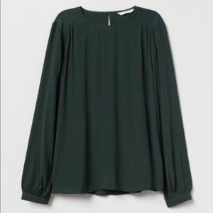 Dark Green Creped Blouse